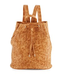 Neiman Marcus Basket Woven Drawstring Bucket Backpack Honey