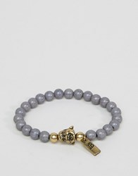 Icon Brand Buddha Beaded Bracelet In Grey Gold