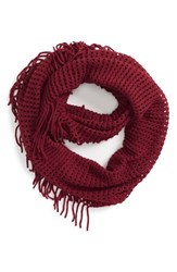 Junior Women's Bp. Fringe Trim Infinity Scarf Coral Oxblood