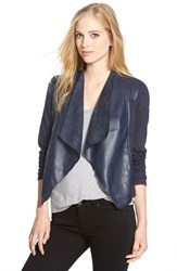 Women's Kut From The Kloth 'Lincoln' Faux Leather Drape Front Jacket Navy