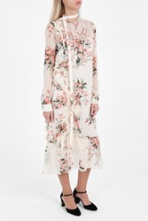 Rochas Chiffon Daisy Print Dress White