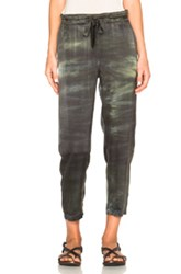 Raquel Allegra Slouchy Belted Pants In Green Ombre And Tie Dye