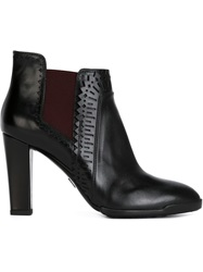 Tod's Perforated Detail Ankle Boots Black