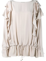 Lanvin Ruffled Sleeve Blouse Nude And Neutrals