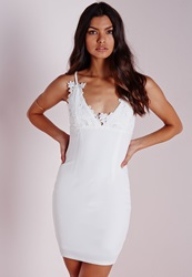 Missguided Crepe Applique Flower Bust Bodycon Dress White White