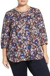 Nydj Plus Size Women's Henley Top Floral Memoirs Chocolate