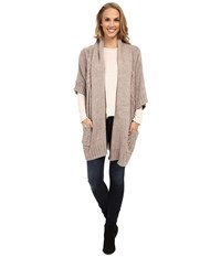 Bobeau Oversized Cable Cardigan Natural Women's Sweater Beige