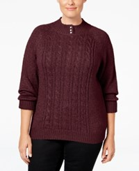 Karen Scott Plus Size Cable Knit Mock Neck Sweater Only At Macy's Merlot