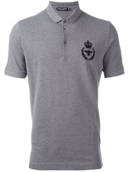 Dolce And Gabbana Embroidered Crown Bee Polo Shirt Grey