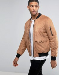 Asos Faux Suede Bomber With Patch Pocket In Tan Tan