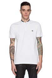 The Kooples Shiny Pique And Leather Polo White
