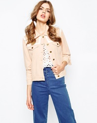 Sister Jane Suede Western Jacket With Lace Trim Sand