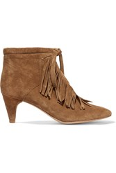 Maje Fringed Suede Ankle Boots Brown