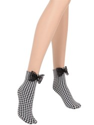 Chantal Thomass Polisonne Bow Detail Houndstooth Socks