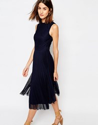 Warehouse Pleated Lace Midi Dress Navy