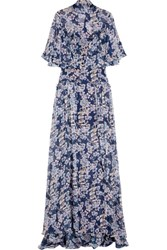 Temperley London Ruffled Printed Silk Georgette Gown Blue