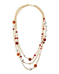 Kenneth Jay Lane Long Triple Row Beaded Amazonite And Pearl Necklace