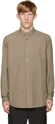 Robert Geller Beige Striped Vintage Shirt