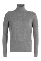 Vince Wool Turtleneck Pullover With Cut Out Shoulders Grey