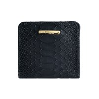 Graphic Image Mini Folding Wallet In Embossed Python Leather Black Plain