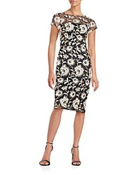 David Meister Embroidered Lace Illusion Dress Blk Gold