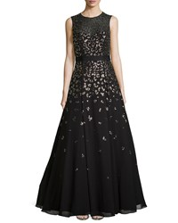 Rebecca Taylor Sleeveless Beaded Illusion Neck Gown Black
