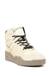 Pony Mesh Suede Padded Cuff Mid Sneaker White