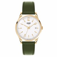 Henry London 39Mm Unisex Chiswick Watch With Date White Gold Green