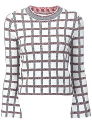 Derek Lam 10 Crosby Checked Slit Longsleeved Blouse White