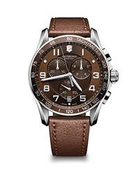 Victorinox Swiss Army Chronograph Classic Brown Leather Strap Watch 45Mm