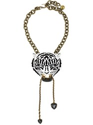 Lanvin Tiger Pendant Necklace Black