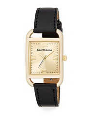 Saks Fifth Avenue Rose Goldtone Square And Faux Leather Watch