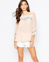 Lipsy Long Sleeve Blouse With Lace Inserts Pink