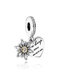 Pandora Design Charm 14K Gold Sterling Silver And Cubic Zirconia Dangle Snowflake Heart Moments Collection Silver Gold