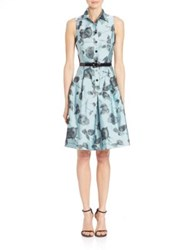Teri Jon Floral Sleeveless Shirt Dress Blue