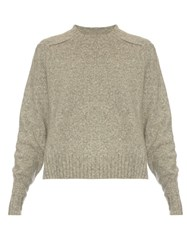 Isabel Marant Round Neck Long Sleeved Wool Blend Sweater Light Grey