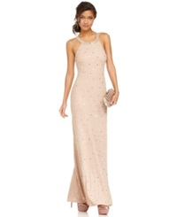 Adrianna Papell Dress Sleeveless Beaded Gown Pink