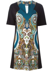 Etro Floral Paisley Print Shift Dress Green