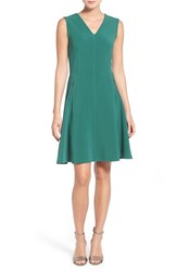 Women's Halogen Zip Pocket V Neck A Line Dress