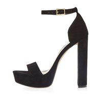 River Island Womens Black Double Strap Platform Heels