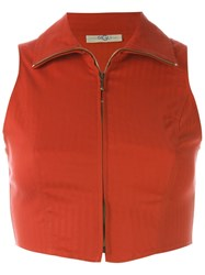 Romeo Gigli Vintage Zip Front Crop Top Red