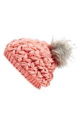 Women's Collection Xiix Crochet Pompom Beanie Pink Pink Blush