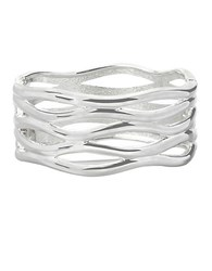 Robert Lee Morris Silvertone Cut Out Hinged Bangle Bracelet