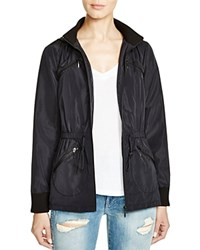 Aqua Knit Trim Rain Coat Black