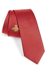 Gucci Men's Embroidered Bee Silk Blend Jacquard Tie