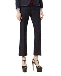 Gucci Polka Dot Cotton Wool Ankle Pants Ink Red White