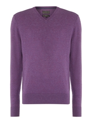 Howick Arlington V Neck 100 Lambswool Jumper Lilac