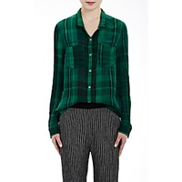 Raquel Allegra Women's Washed Gauze Button Down Shirt Black Green Black Green