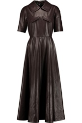 Emilia Wickstead Faux Leather Midi Dress Brown