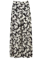 Stella Mccartney Darcy Horse Print Silk Trousers Black